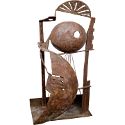 Modernist Abstract Iron Sculpture of a Locust Signed Herman, 1988