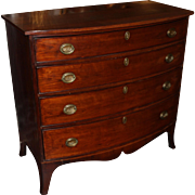 Federal Mahogany Bow Front Four Drawer Chest