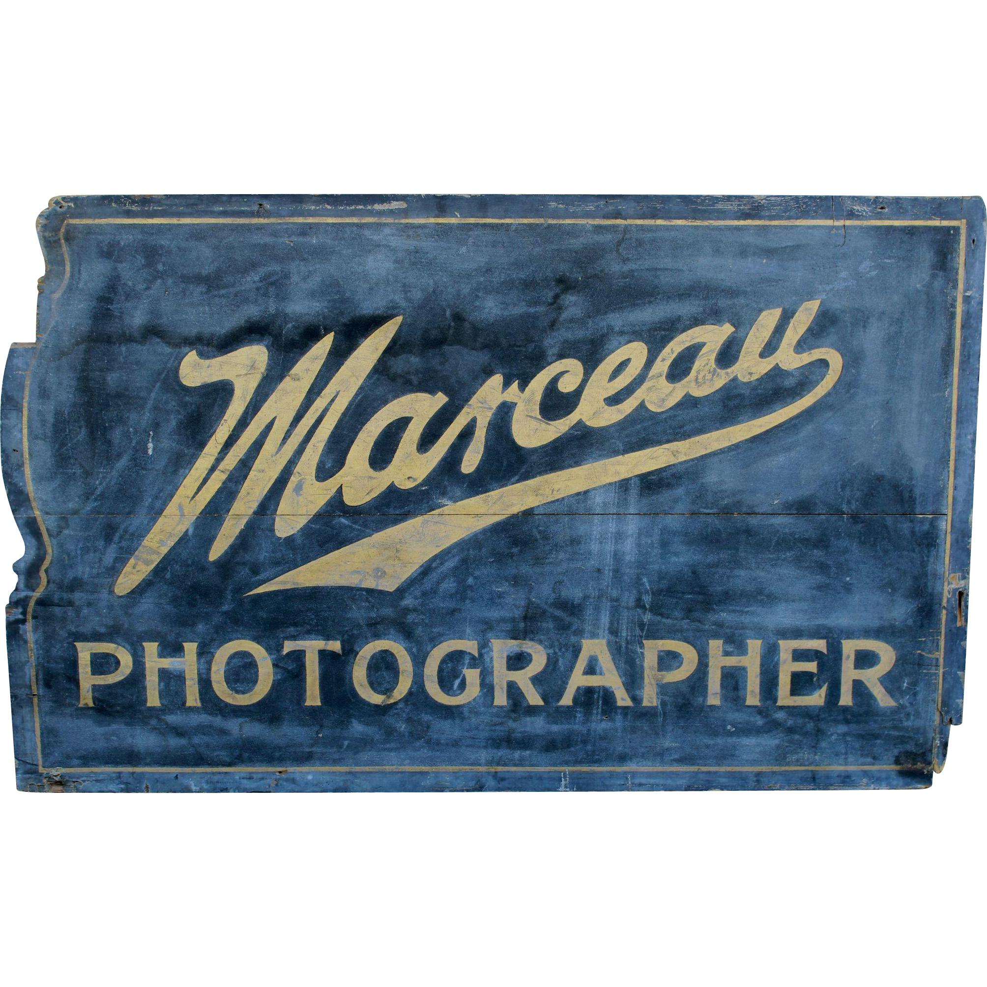 Early 20th c Marceau Photography Wooden Advertising Sign