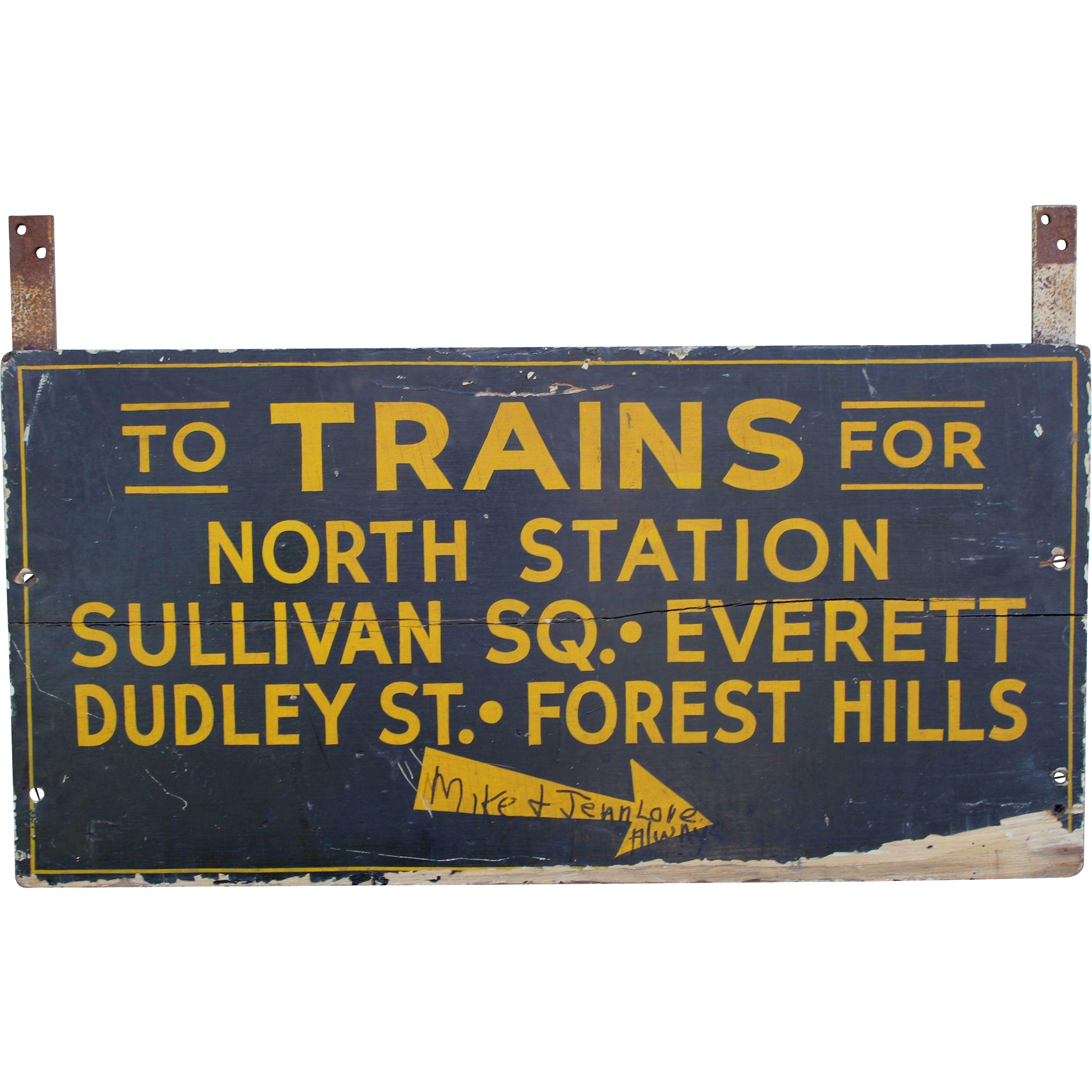 Early 20th c Boston Train Transportation Sign with Brackets
