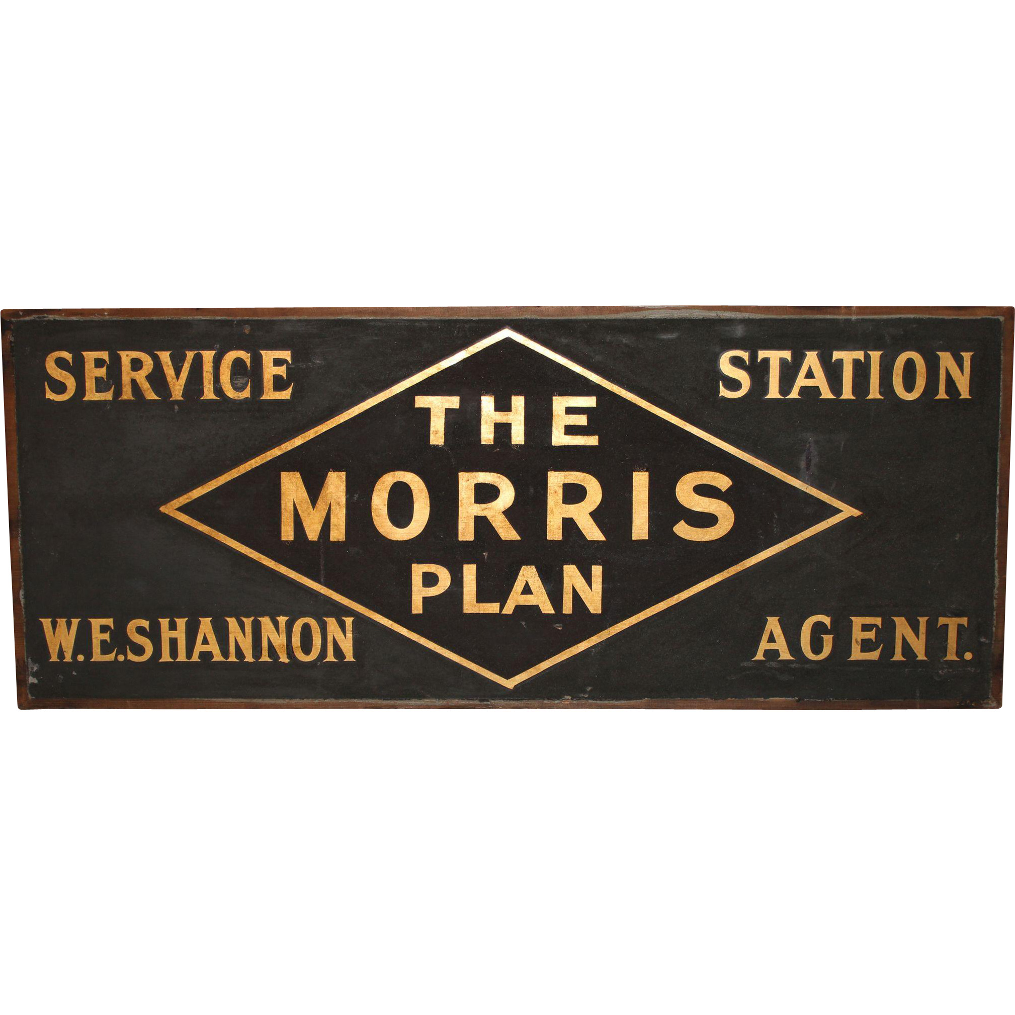"Early 20th c ""The Morris Plan"" Bank Wooden Advertising Sign"