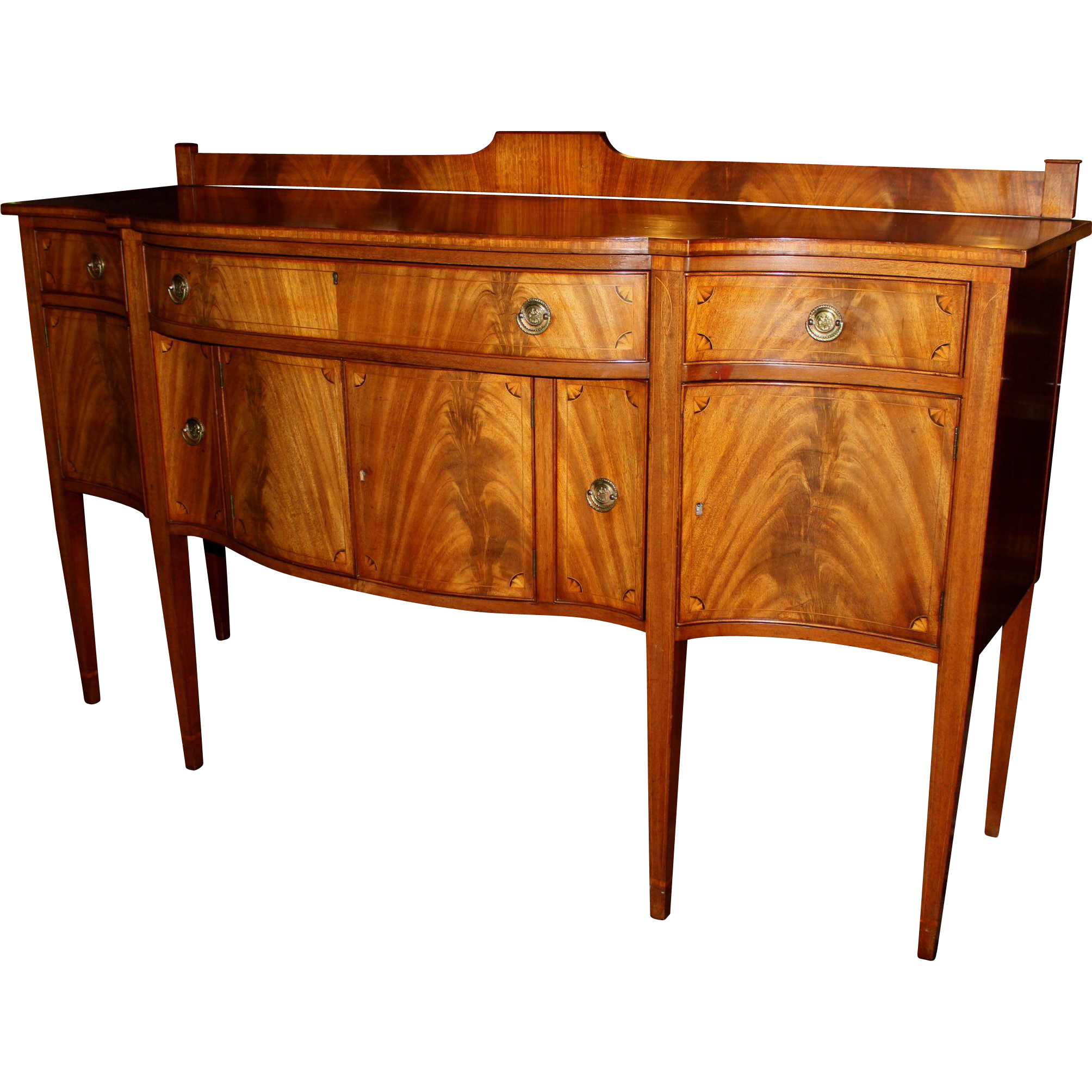 Hepplewhite Style Paine Furniture Sideboard with Crotched Mahogany Veneer
