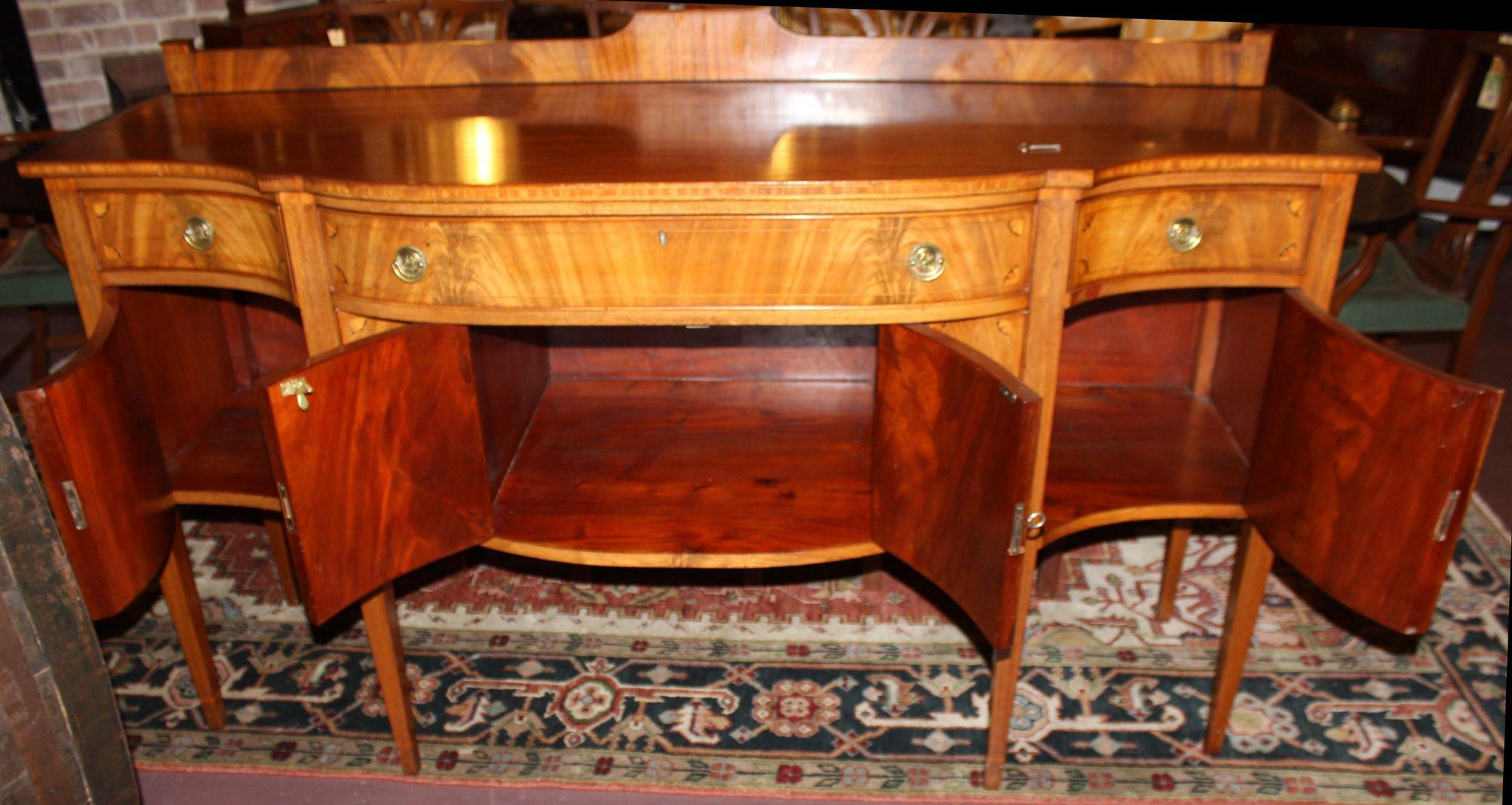 Hepplewhite Style Paine Furniture Sideboard with Crotched Mahogany ...