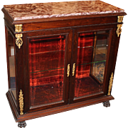 French Empire Style Curio Cabinet or Vitrine with Rouge Marble Top
