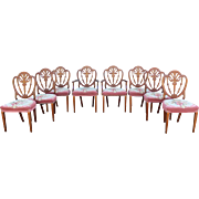 Set of Eight Carved Mahogany Shield Back Dining Chairs with Needlepoint Seats