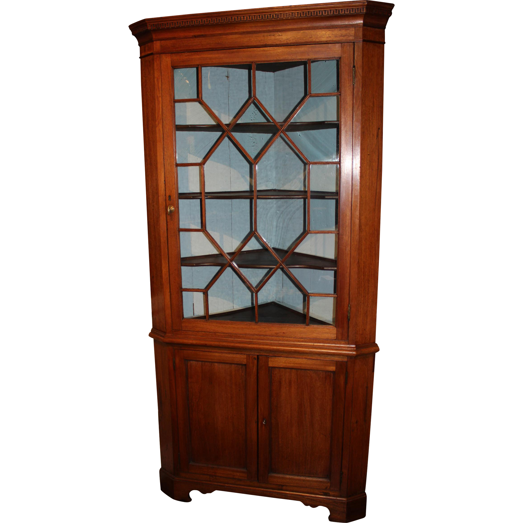 Federal Period Mahogany Two Part Chippendale Corner Cupboard