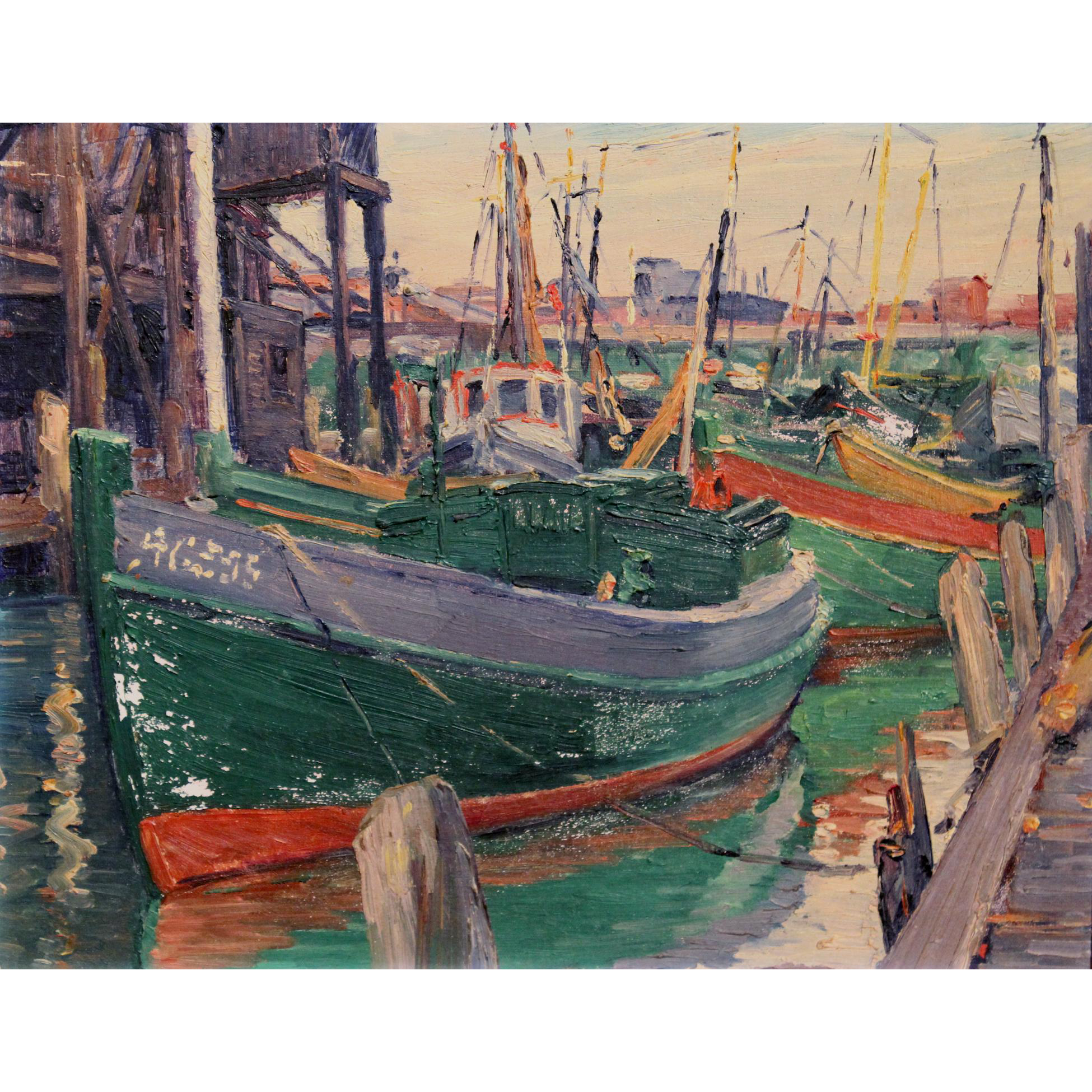 William Malherbe Marine Oil Painting of a Harbor Scene -  Gloucester, Mass