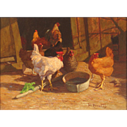 Walter Douglas Oil Painting of a Barnyard Scene with Chickens - The Rooster's Call