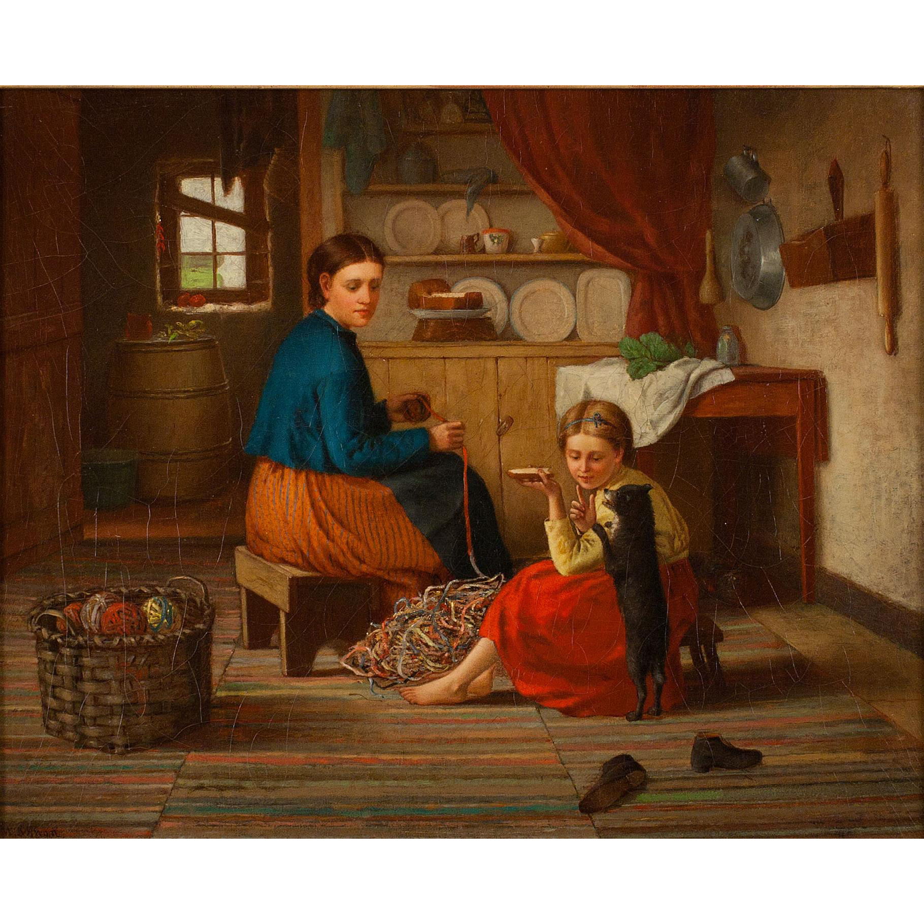 William McEwan Oil Painting - Balling Yarn In The Kitchen, 1870