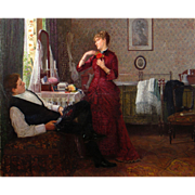 Anton Thiele Oil Painting - Tying a Rose, 1888