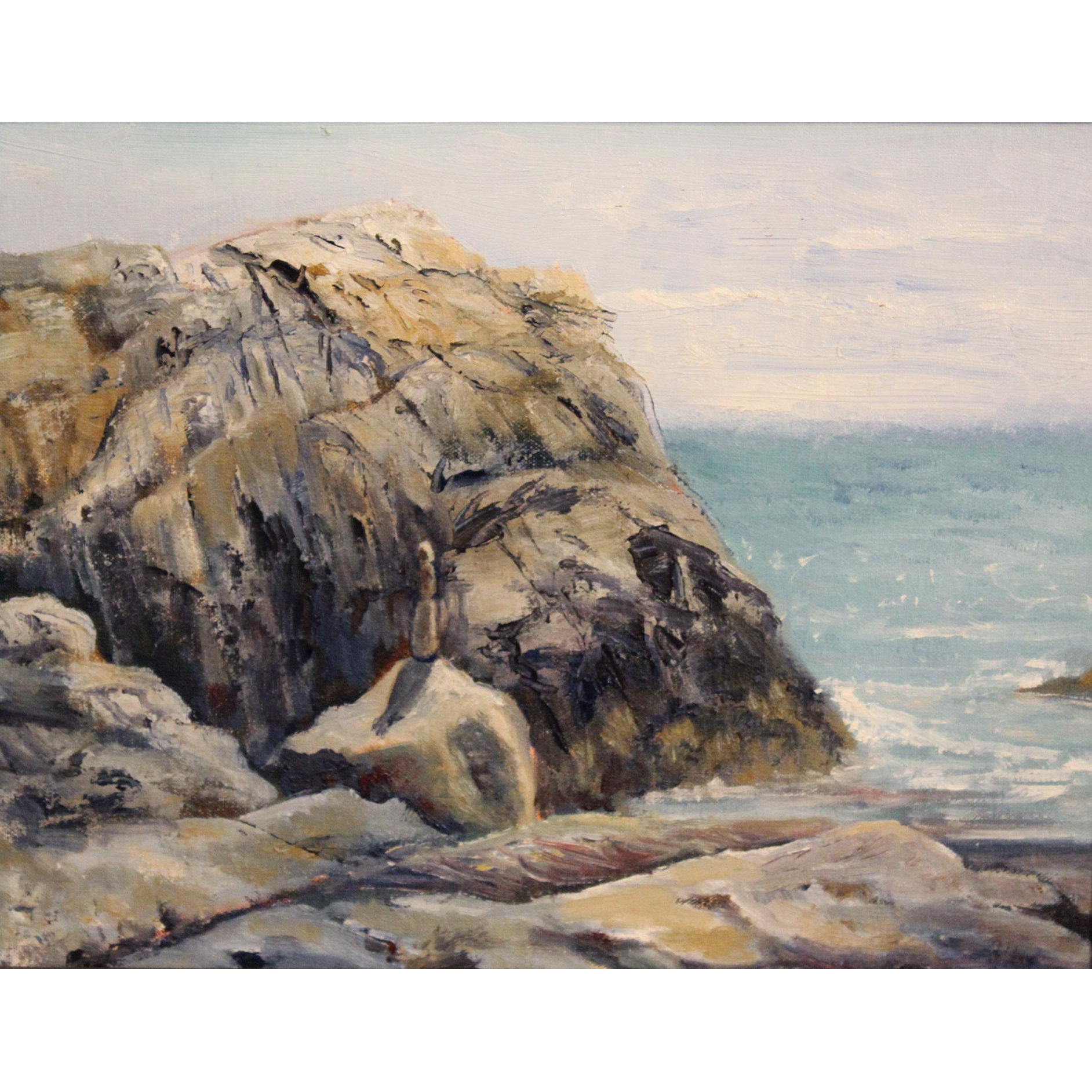 Aline Lotter Coastal Oil Painting - Totem, Narragansett