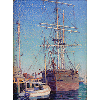 Harry A. Neyland Oil Painting - Whaling Bark Greyhound, New Bedford MA, 1923