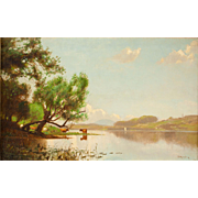 John Francis Murphy Landscape Oil Painting - View on Saratoga Lake, 1877