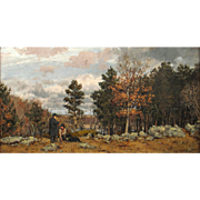 William Preston Phelps Landscape Oil Painting - Rabbit Hunters