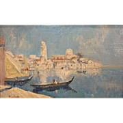 Paul LeDuc Oil Painting of a Venetian Harbor Scene