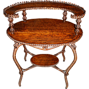 Heywood Bros & Co Oak Two-Tier Wicker and Oak Oval Table