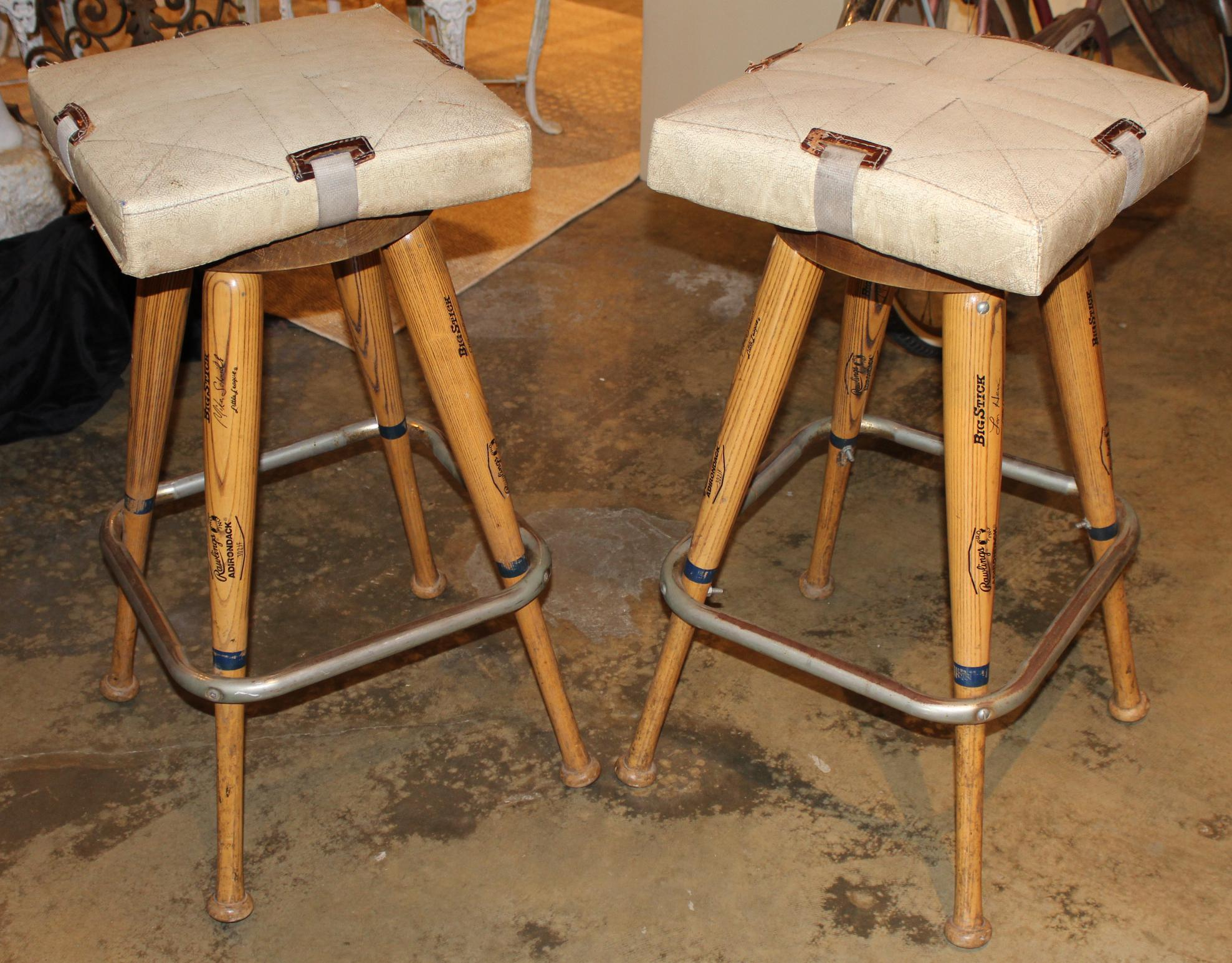 Pair Of Custom Baseball Bat Bar Stools With Base Seat
