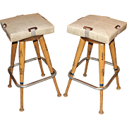 Pair of Custom Baseball Bat Bar Stools with Base Seat Cushions