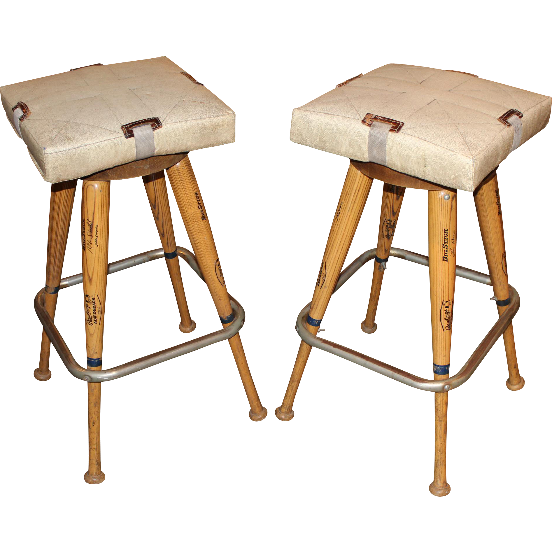 Pair of Custom Baseball Bat Bar Stools with Base Seat  : 50011L from www.rubylane.com size 1893 x 1893 png 2731kB