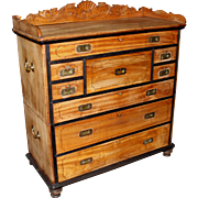 Anglo-Indian Camphorwood Two Part Campaign Chest with Carved Gallery
