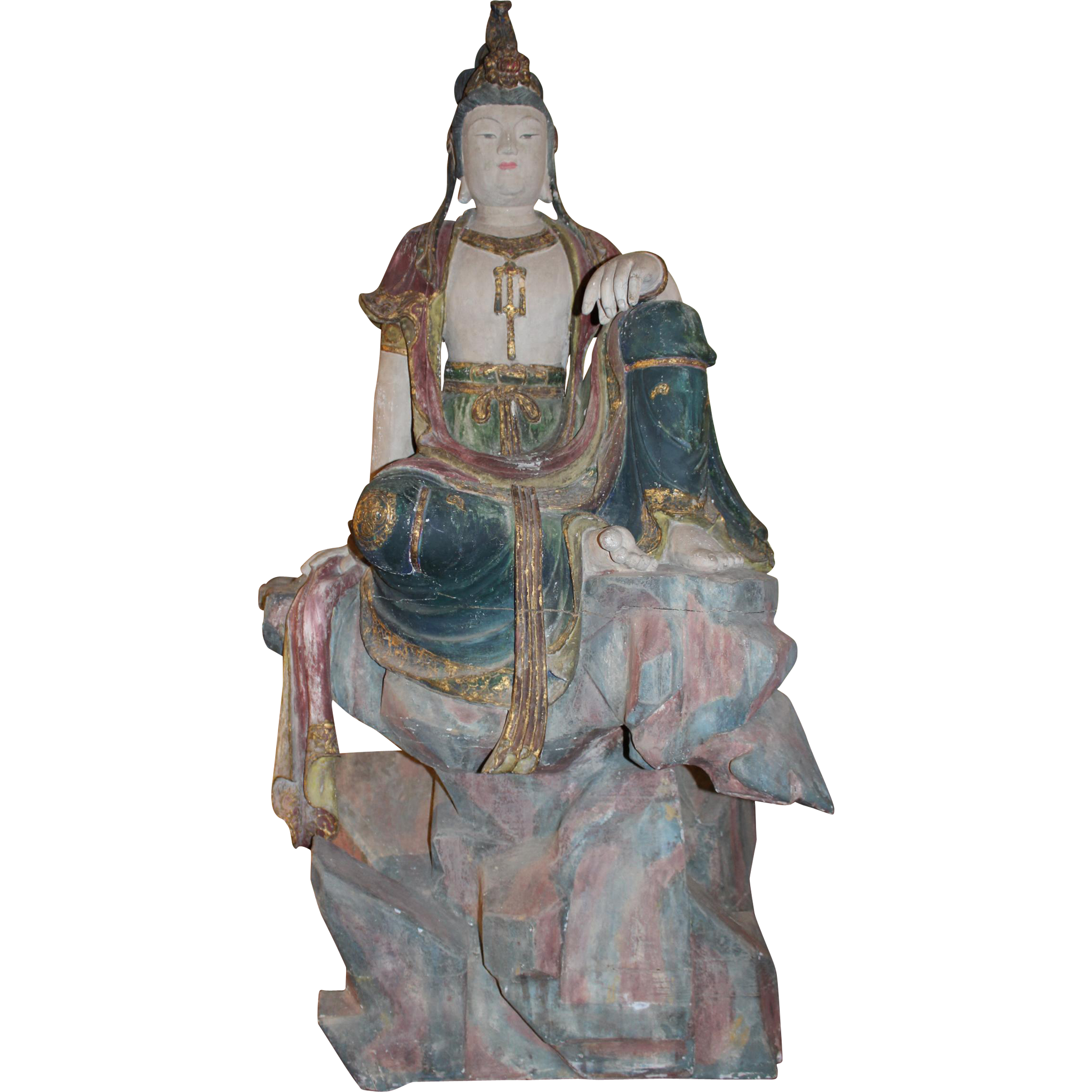 Polychrome Carved Wooden Seated Figure of Guanyin