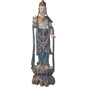 19th c Polychrome Wooden Carved Figure of Guanyin