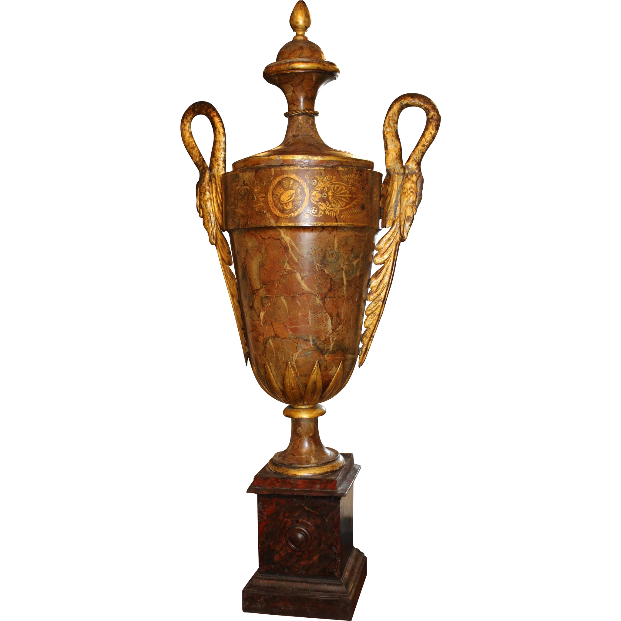 Early 19th Century European Tole Polychromed Urn or Finial