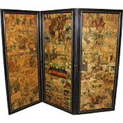 19th Century Victorian Three Part Decoupage Dressing Screen