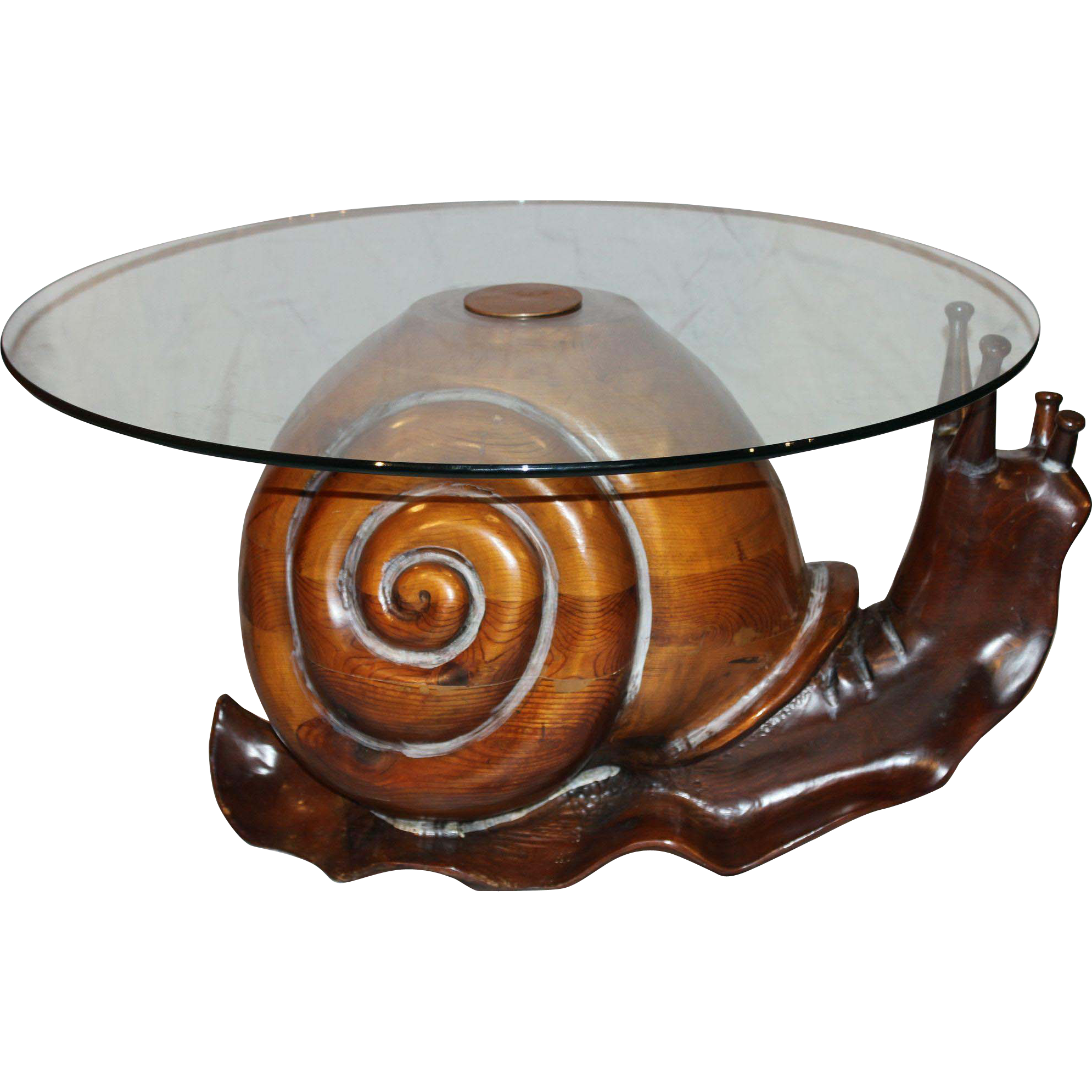 Federico Armijo Glass Top Carved Snail Table from nhantiquecoop on