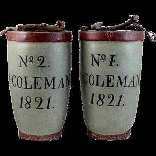 Pair of Rare Painted Fire Buckets - J. Coleman, Nantucket MA, circa 1821