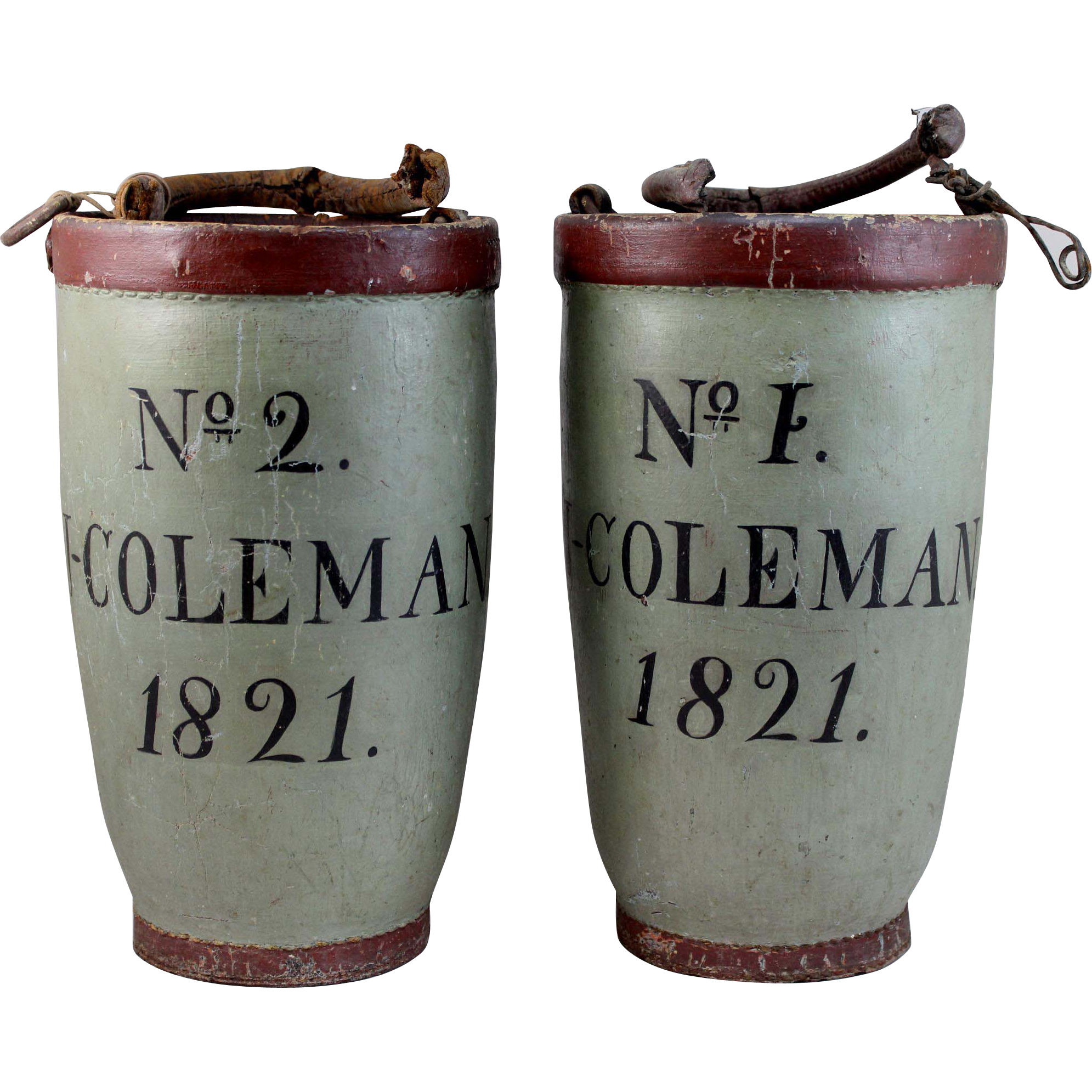 Pair of Rare Painted Fire Buckets - J. Coleman, Nantucket MA, circa 1821