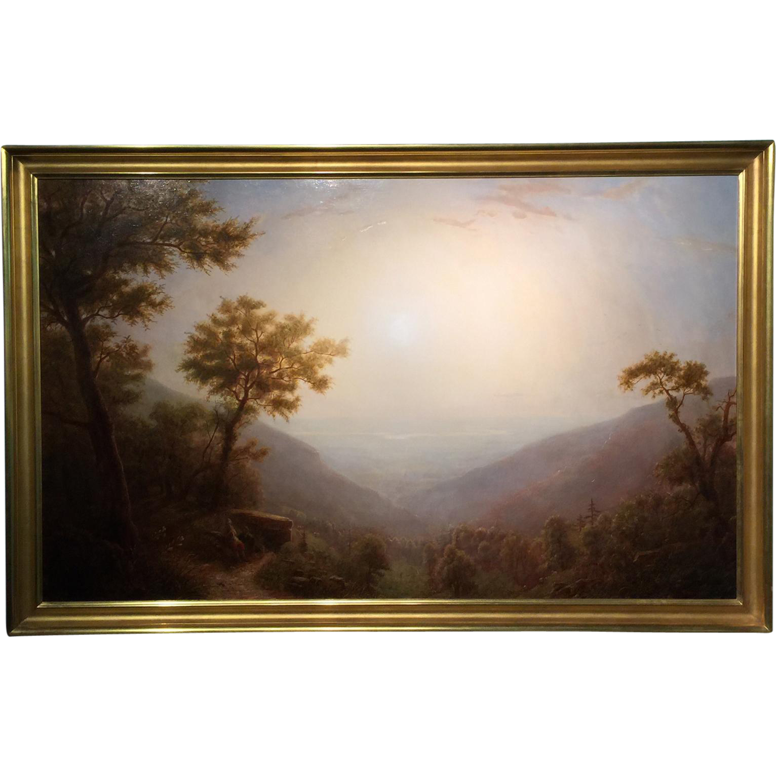 Erik Koeppel Large Landscape Oil Painting - Sunrise Over The Hudson