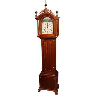 Foster S. Campos Mahogany Case Grandmother Tall Clock Pembroke MA