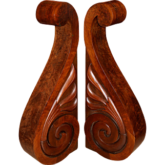 Pair of Large Wooden Scroll Form Corbels by S.D. Willis, Fitchburg MA