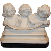 Adolfo Cipriani Carved Stone Musical Sculpture of 3 Children Singing