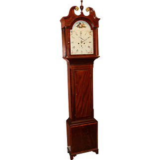 Early 19th c W. Hall Mahogany Tall Clock -  North Shields, Scotland