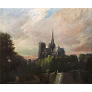 Frank Mason Large Oil Painting of Notre Dame Cathedral in Paris