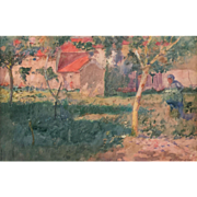 August Franzen Watercolor Painting of a French Garden