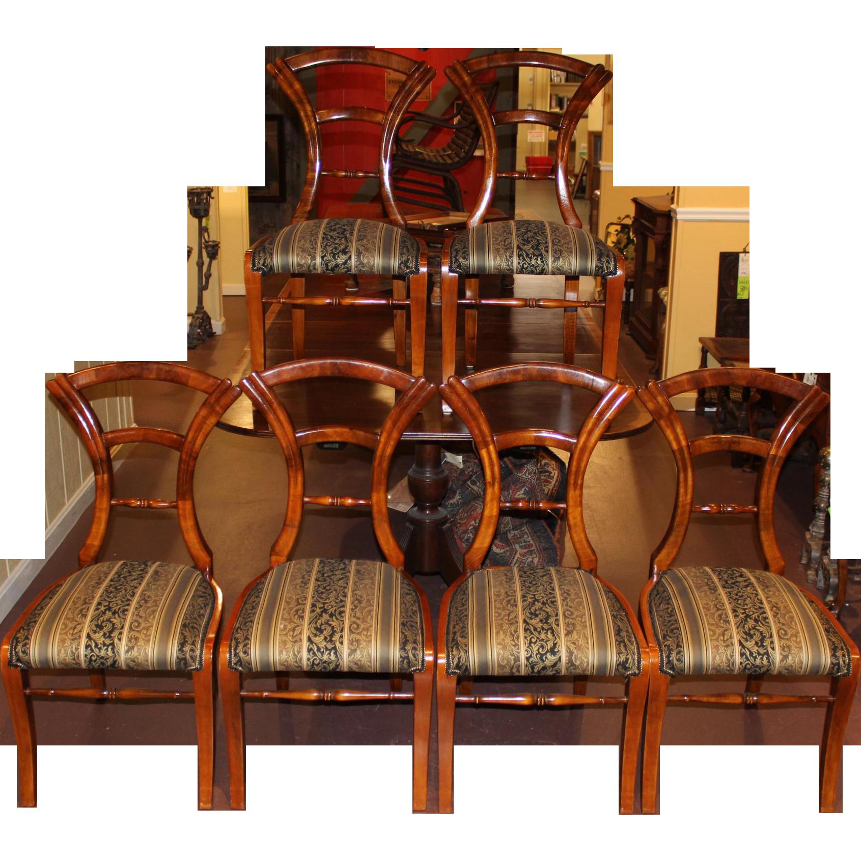 Set of Six 19th Century Biedermeier Side Chairs