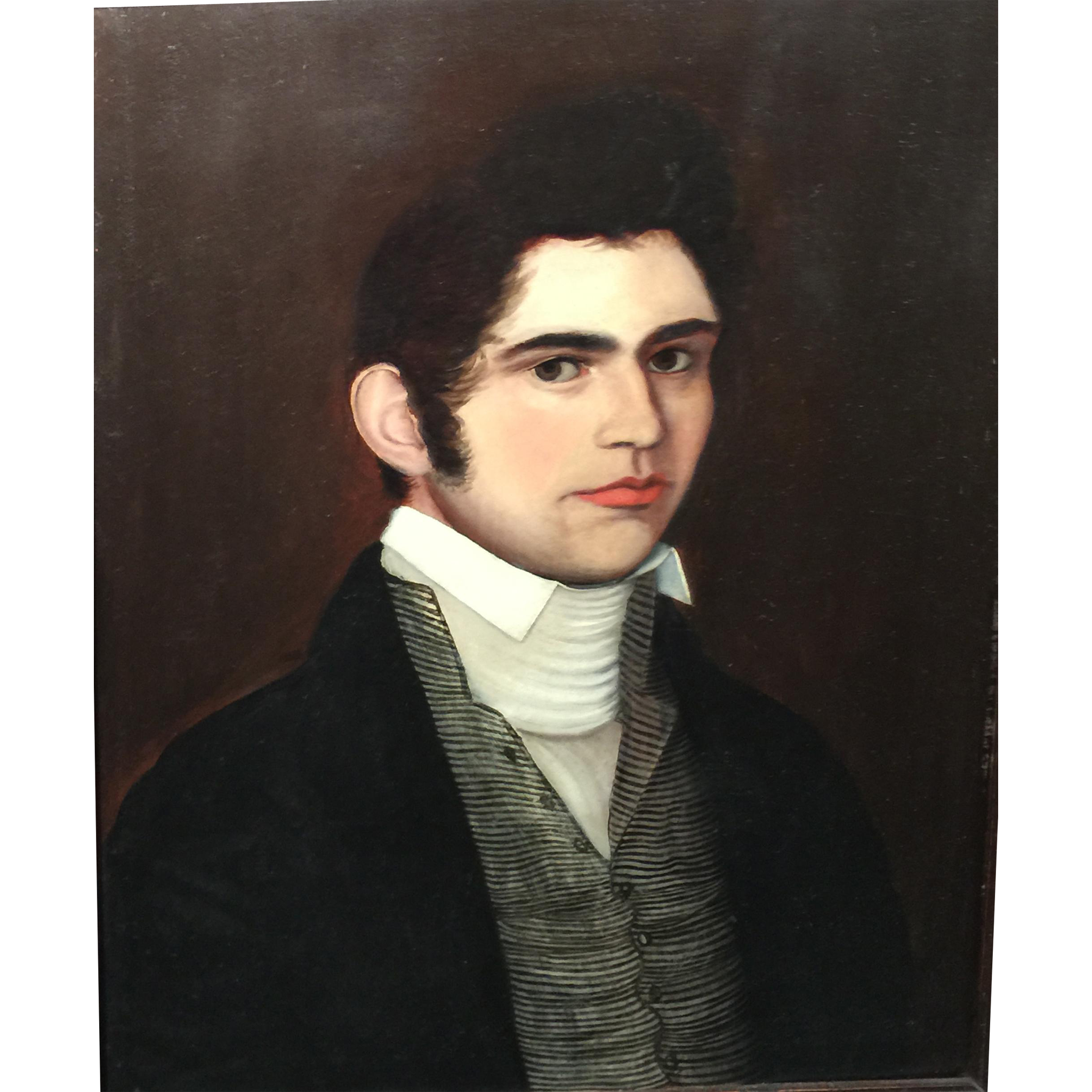 19th c American School Oil Painting of a Gentleman