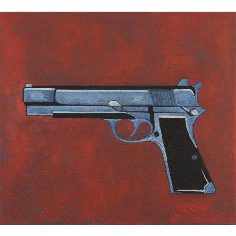 Catherine Newman Oil Painting of a Browning Hi Power Semi Automatic Pistol
