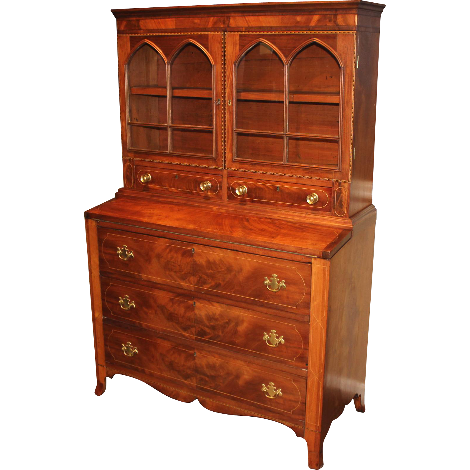 Early 19th c Federal Two Part Inlaid Mahogany Secretary