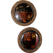 Pair of Custom Convex Girandole Giltwood Mirrors