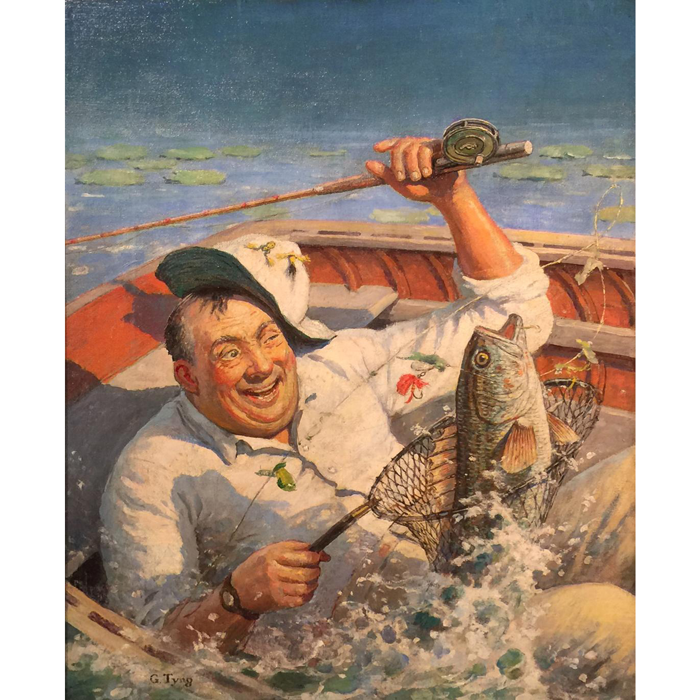 Griswold Tyng Original Oil Painting of a Fisherman - Cover of Hunting & Fishing Magazine 1938