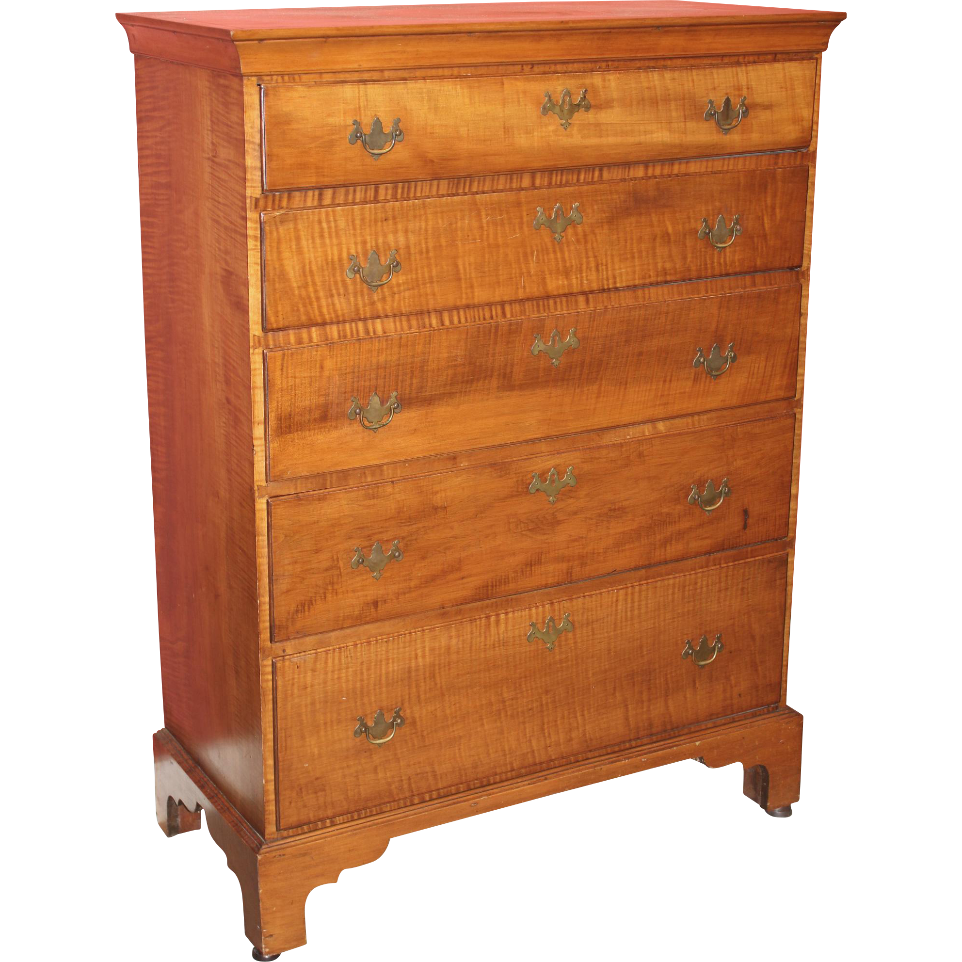 18th / 19th c Chippendale Tiger Maple Tall Chest
