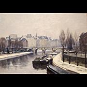 Rafael Bataller Oil Painting Winter Cityscape - Pont Neuf, Paris, France