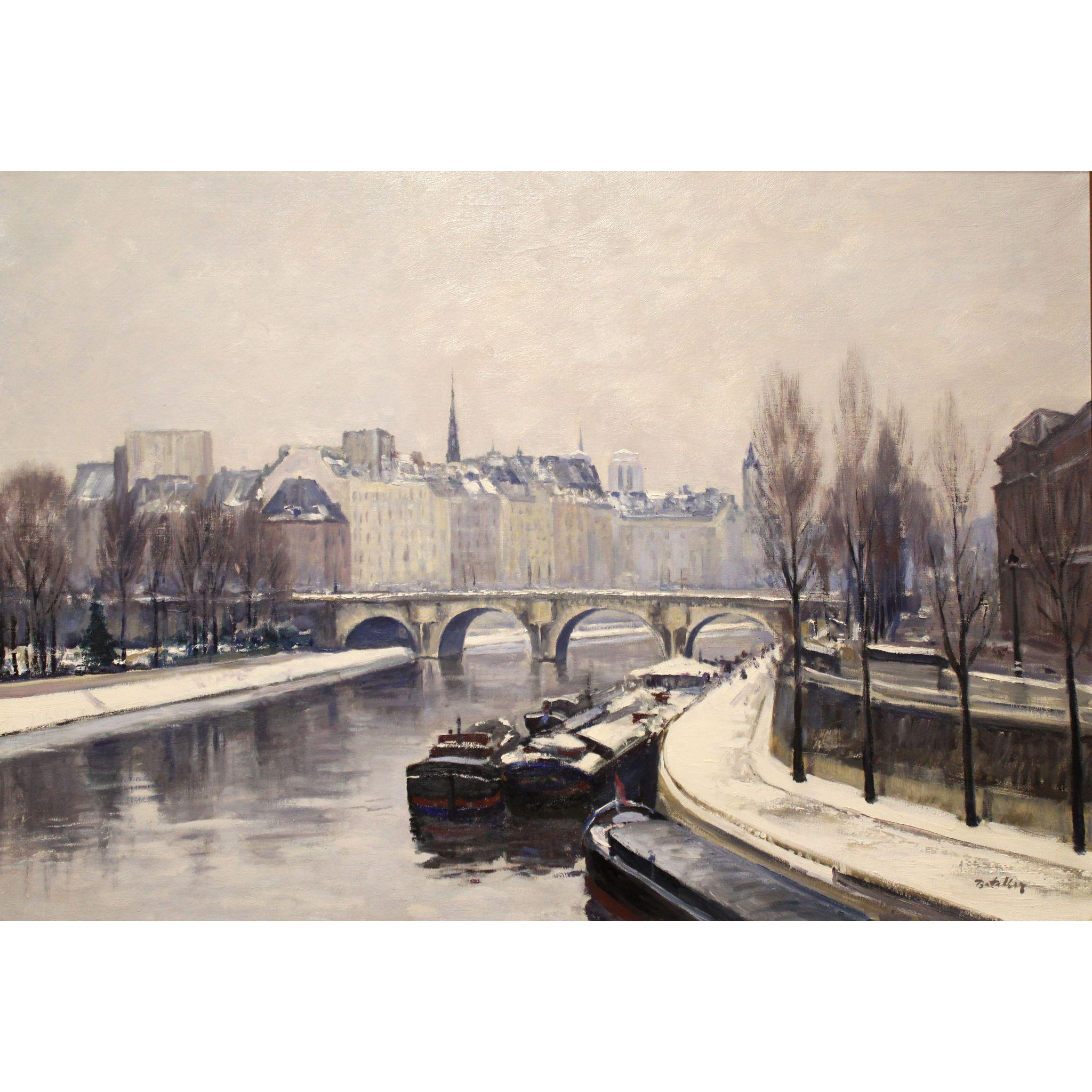 Rafael Bataller Oil Painting Winter Cityscape - Pont Neuf, Paris, France