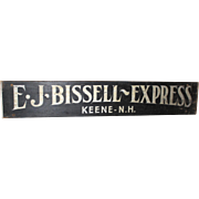 19th / 20th c E. J. Bissell Express Keene NH Wooden Advertising Sign