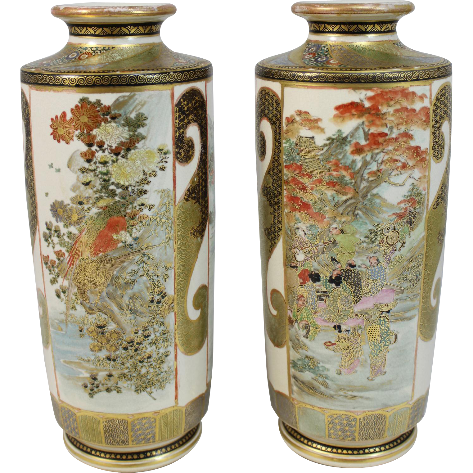 Pair of Japanese Satsuma Signed Vases