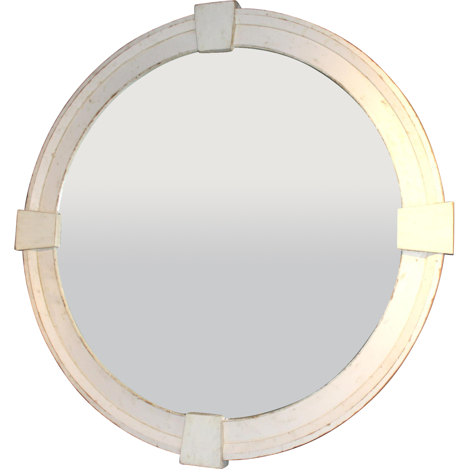 Monumental Round Wood Framed Mirror with Architectural Keystone Decoration